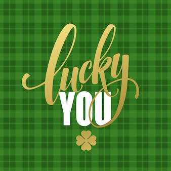 Happy st. patricks day greating. lucky calligraphy. hand lettering.  illustration