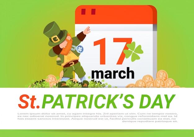 Happy st. patricks day green leprechaun over calendar with 17 march