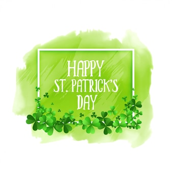 Happy st patricks day green watercolor background