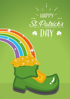 Happy st patricks day greeting card, boot and rainbow poster