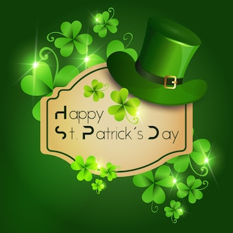 Happy st. patricks day greeting card or decoration poster for holiday with leprechaun hat on green background