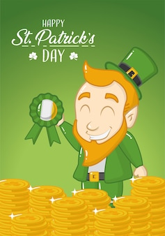 Happy st patricks day greeting card, green leprechaun with coins