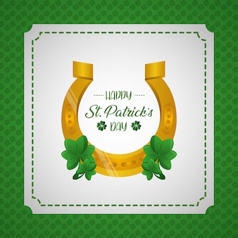 Happy st patricks day greeting card, horseshoe and clover label on green