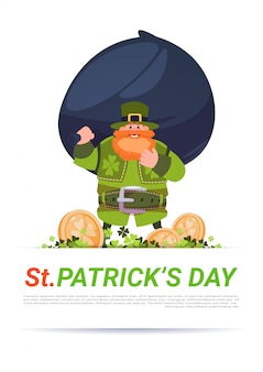 Happy st. patricks day greeting card leprechaun man hold big bag with golden coins