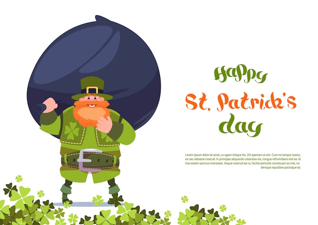 Happy st. patricks day greeting card template background with leprechaun holding big bag of coins
