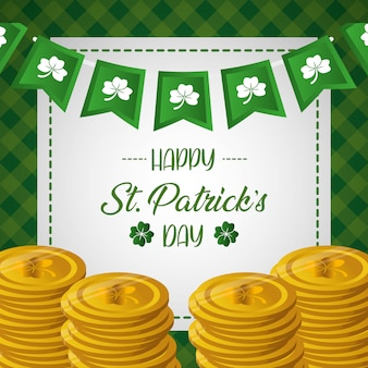 Happy st patricks day greeting card with coins