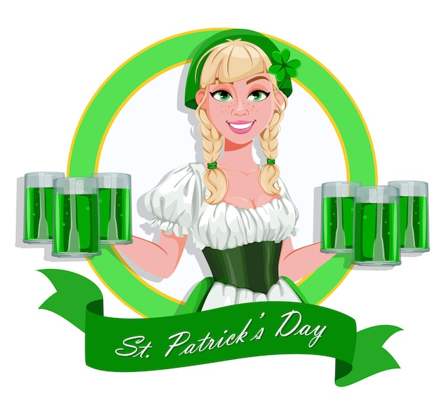 Happy st patricks day greeting card. young girl holding six pints of ale