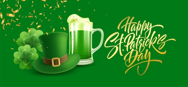 Happy st. patricks day greeting for postcard, banner, poster.