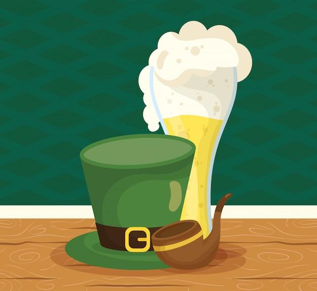 Happy st patricks day illustration with leprechaun hat