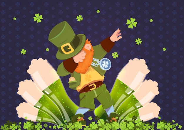 Happy st. patricks day irish festival holiday with green leprechaun over glasses of beer