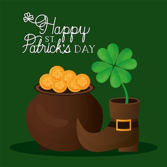 Happy st patricks day lettering, boot with one clover and pot full of gold coins  illustration