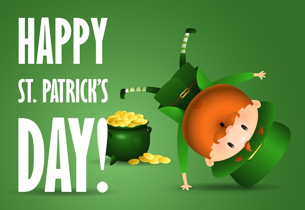 Happy st patricks day lettering, joyful leprechaun, pot of gold