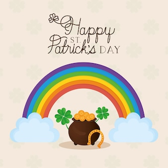 Happy st patricks day lettering, rainbow with two clouds and pot full of gold coins  illustration