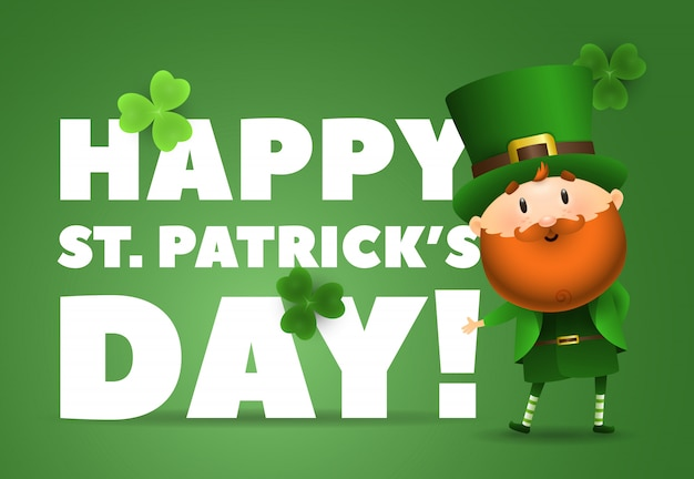 Happy st patricks day lettering with leprechaun in hat