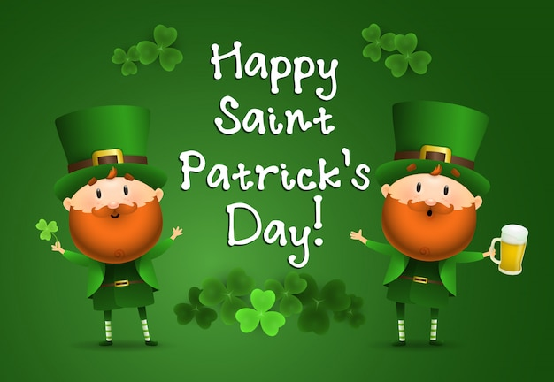 Happy st patricks day lettering with leprechauns