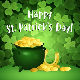 Happy st patricks day lettering with pot of gold and horseshoe