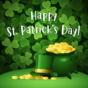 Happy st patricks day lettering with pot of gold and topper hat