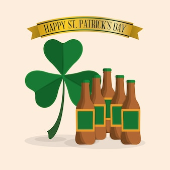 Happy st patricks day many beer and clover