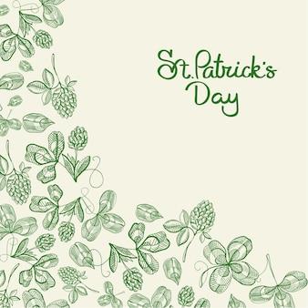 비문 및 손으로 그린 녹색 아일랜드 클로버 벡터 일러스트와 함께 해피 세인트 패트릭 데이 자연 포스터