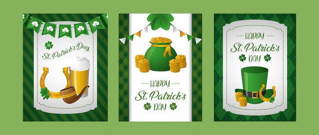 Happy st patricks day posters with related elements