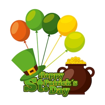 Happy st patricks day pot gold coins hat balloons celebration