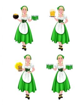 Happy st patricks day, set of four poses