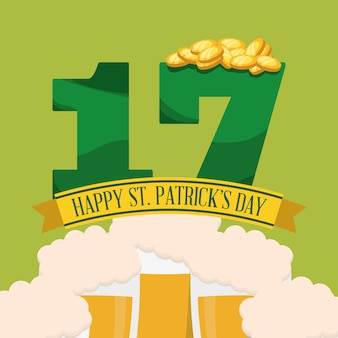 Happy st patricks day seventeen coin beer foam