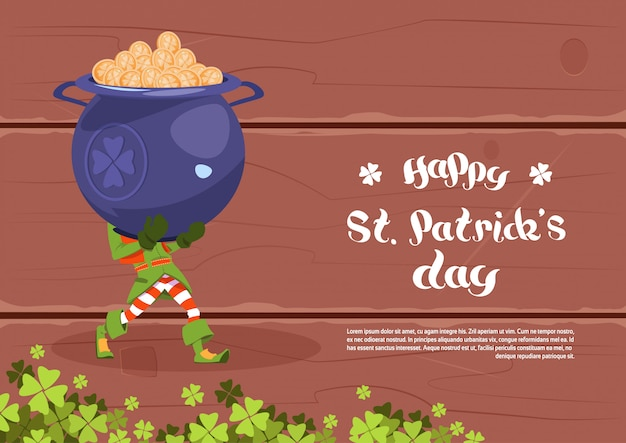 Happy st. patricks day template background leprechaun man hold big pot with golden coins