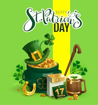Happy st. patricks day text greeting card. patrick s accessories festive composition.