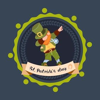 Happy st. patricks day with green man leprechaun