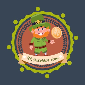 Happy st. patricks day with leprechaun in green suit and hat hold golden coin