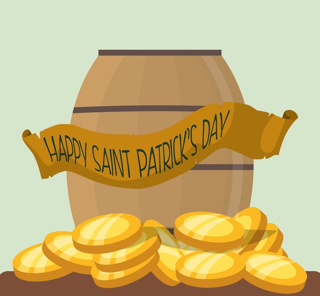 Happy st patricks day wooden barrel gold coins