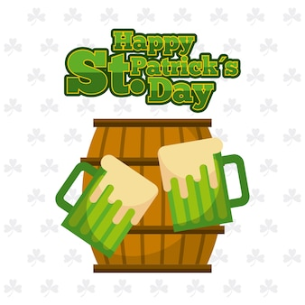 Happy st patricks day wooden barrel and green beers