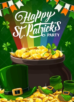 Happy st. patricks party poster with leprechaun golden coins