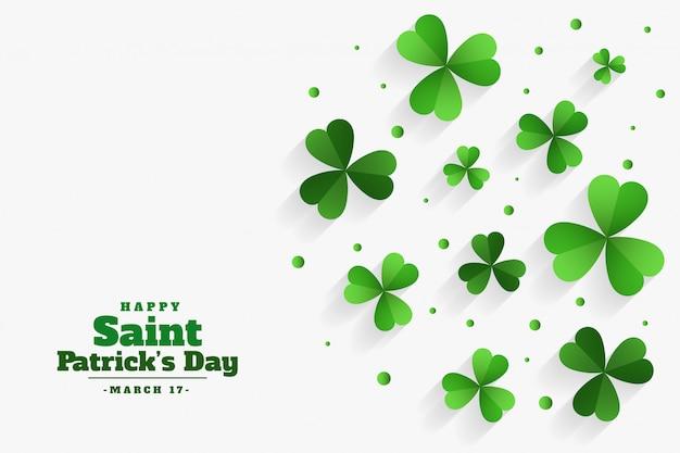 Happy st patricks день клевер зеленые листья фон