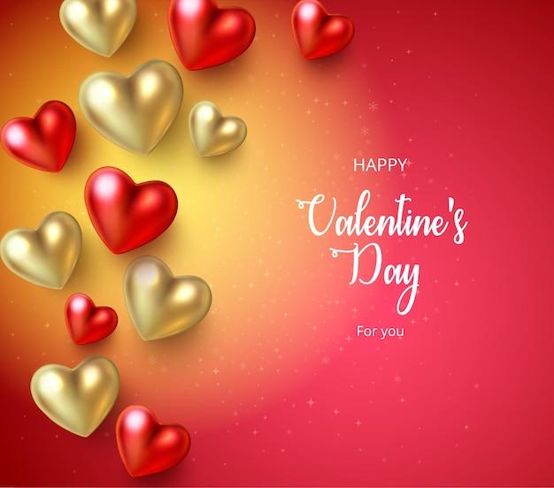 光沢のあるカラフルな3dハート愛のデザインと幸せなstバレンタインデー赤いグリーティングカード