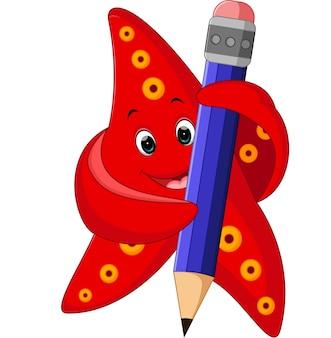 Счастливая морская звезда с карандашом