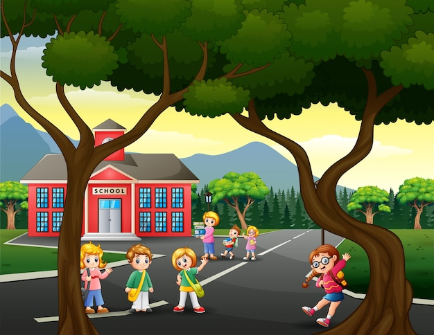 Happy student in front the school building illustration