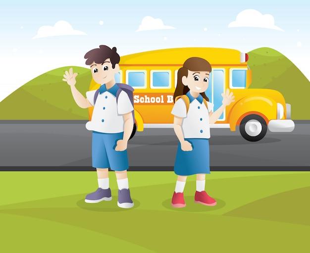 幸せな学生が学校に行く