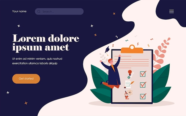 Happy student in gown celebrating graduation. diploma, university, college flat vector illustration. study and education concept for banner, website design or landing web page