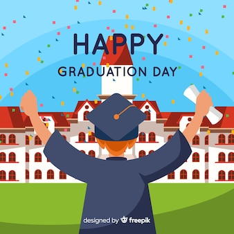Happy student graduating with flat design