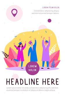 Happy students celebrating graduation from university flat illustration