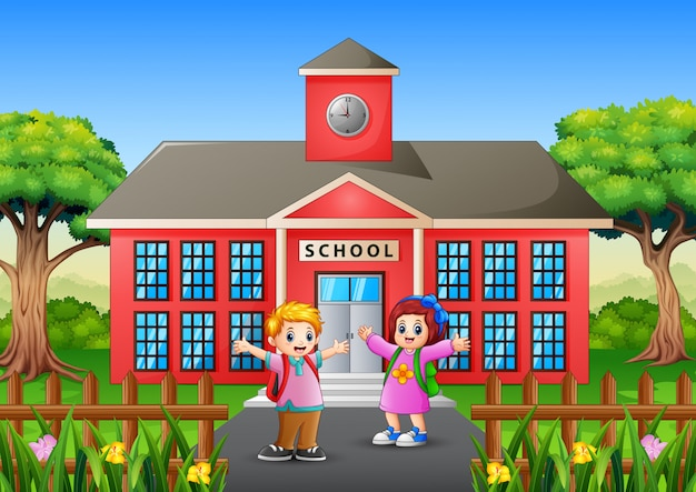 Happy students go to school in the morning