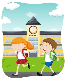 학교에가는 행복한 학생들