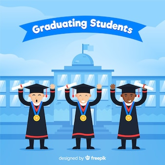 Happy students graduating with flat design