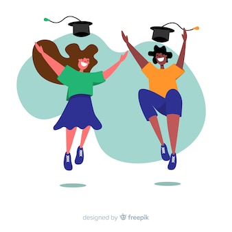 Happy students jumping with flat design
