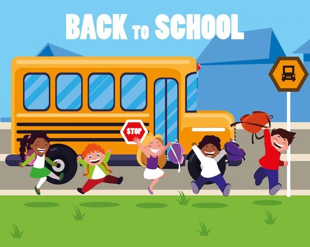 Happy students kids in the school bus stop scene