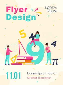 Happy students learning math in college or school isolated flyer template