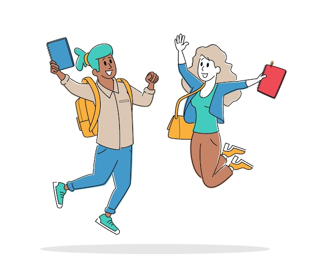Happy students male and female characters jumping with notebooks