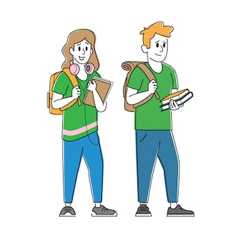 Happy students male and female characters with backpacks and textbooks